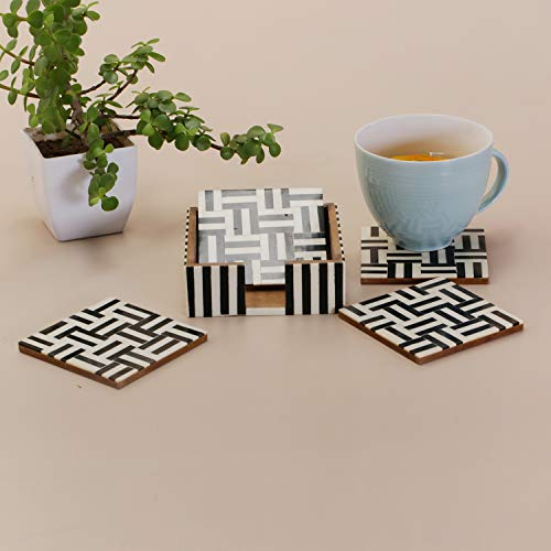 Table Coasters Set for Home with Stand Unbreakable with Pattern Design for Cups Mugs Glasses | Wood with Resin | Black & White | Set of 4 Coasters + 1 Stand