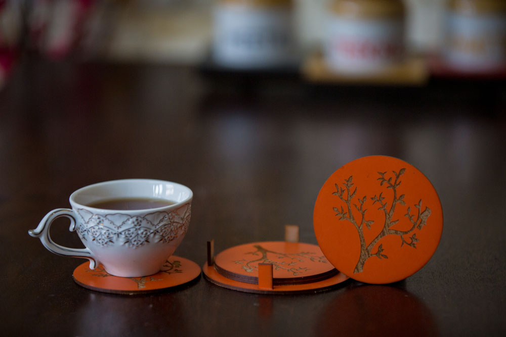 Round Coasters With Tree Engraved