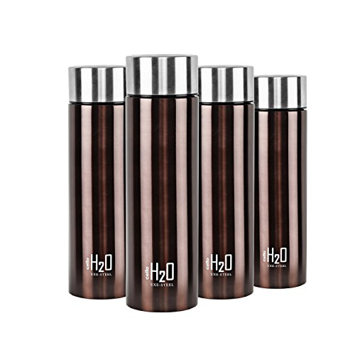H2O Stainless Steel Water Bottle Set 1 Litre Set of 4 Brown