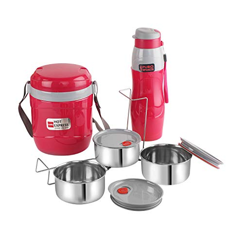 Lunch Express Insulated Tiffin and Water Bottle Red