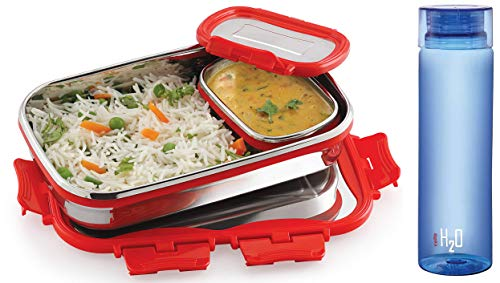Click It Stainless Steel Lunch Pack for Office & School Use (Veg Box Included Red) & H2O Unbreakable Plastic Bottle 1 Litre Assorted Color Combo