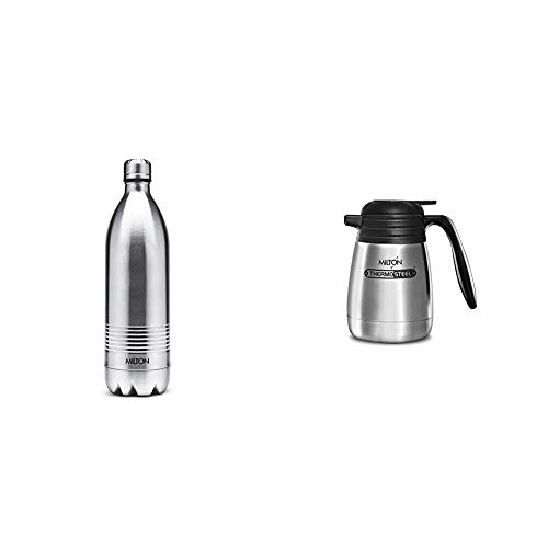 Thermosteel Duo Deluxe Vacuum Insulated Flask 1L (Silver) & Thermosteel Classic Carafe Tea/Coffee Pot (1000 Ml)
