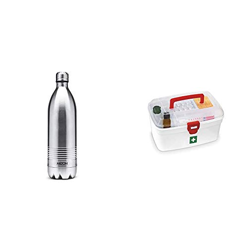 Duo DLX 1000 Thermosteel 24 Hours Hot and Water Bottle 1 Litre Silver + Medical Box