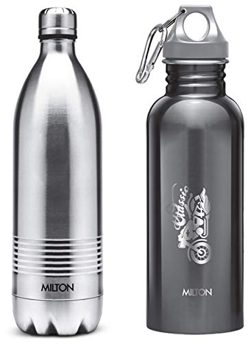 Thermosteel Duo Deluxe-1000 Bottle Style Vacuum Flask 1 Litre Silver + Alive 750 Stainless Steel Water Bottle 750 ml Black