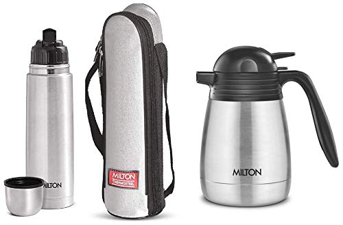 Thermosteel Flip Lid Flask 1000 milliliters Silver & Thermosteel Carafe 600 ml Silver Combo