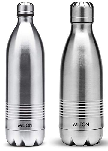 Thermosteel Duo Deluxe-1000 Bottle Style Vacuum Flask 1 Litre Silver + Duo DLX 350 Bottle 350 ml Silver