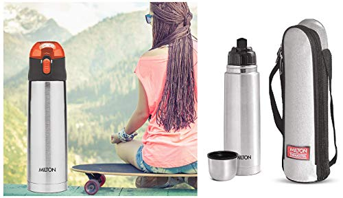 Thermosteel Flip Lid Flask 1000 milliliters Silver & Thermosteel Crown 900 Flask 750ml Orange Combo