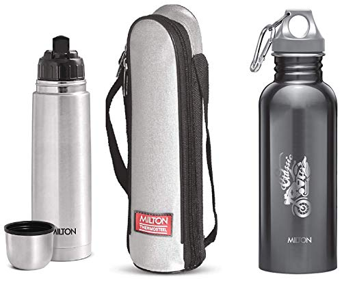 Thermosteel Flip Lid Flask 500 millilitres Silver & Alive 750 Stainless Steel Water Bottle 750 ml Black Combo