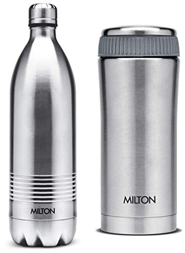 Thermosteel Duo Deluxe-1000 Bottle Style Vacuum Flask 1 Litre Silver + Thermosteel Optima 420 Stainless Steel Flask 420ml Steel