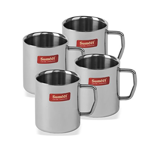 Stainless Steel Coffee Mug - 4 Pieces Silver 210 ml