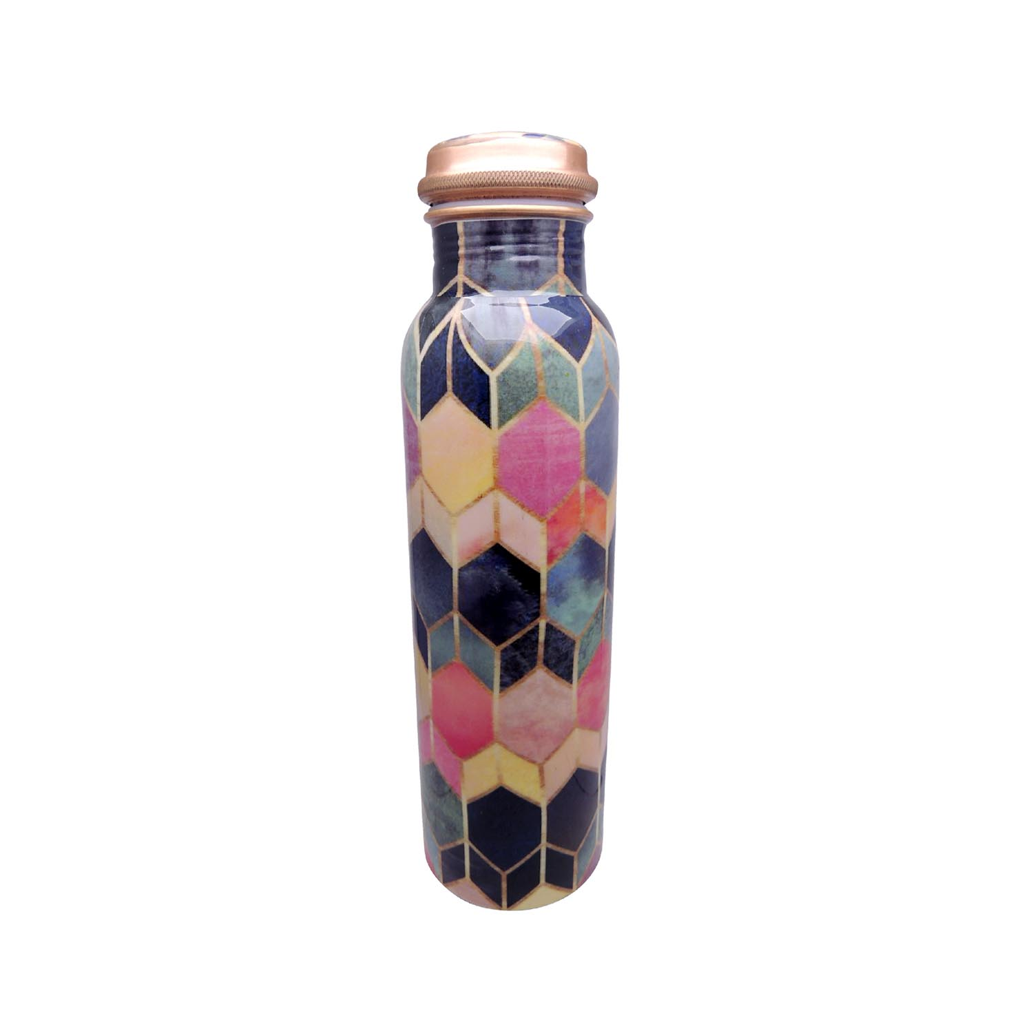 Leak Proof Pure Copper Colourful Hexagon Sticker Bottles for Water 1 Litre for Travelling