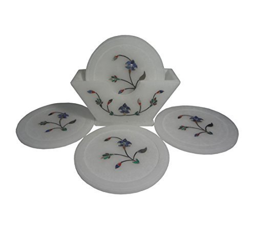 White Stone Inlaid Coaster Set of 6 Coasters (Standing) 4 inch, 2 image