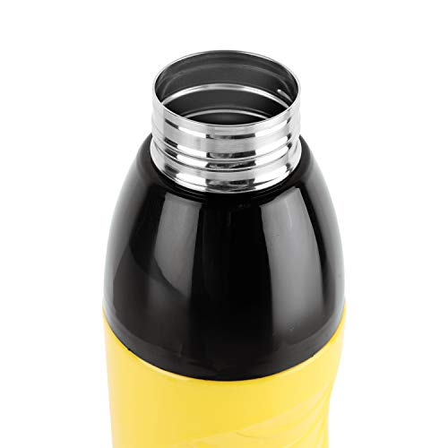 Puro Steel-X Zen Inner Steel Outer Plastic with PU Insulation Water Bottle Set of 2 600ml Yellow, 4 image