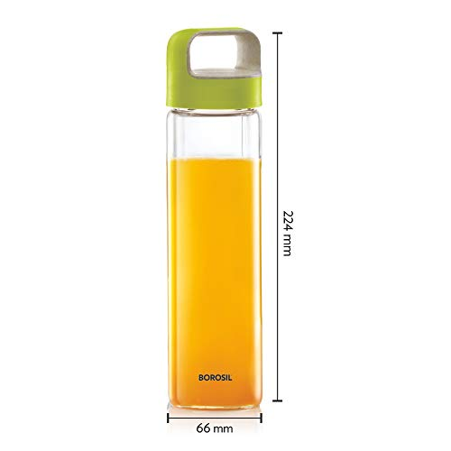 NEO Borosilicate Glass Water Bottle with Green Handle for Fridge and Office 550ml, 3 image