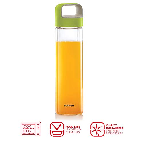 NEO Borosilicate Glass Water Bottle with Green Handle for Fridge and Office 550ml, 2 image
