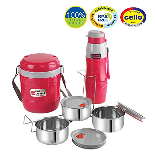 Lunch Express Insulated Tiffin and Water Bottle Red, 3 image