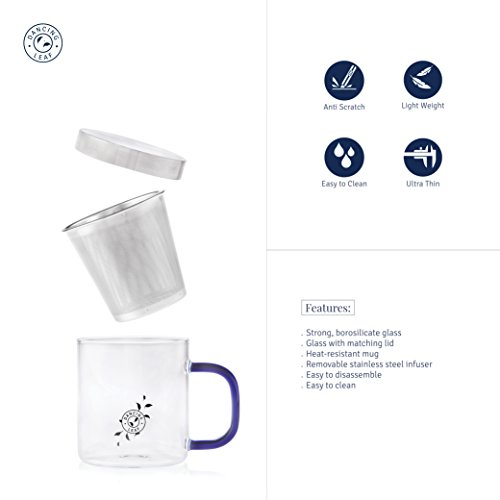 Transparent Tea Mug with Heat Resistant Stainless Steel Infuser & Lid Perfect Tea Cup for Office and Home Uses Suitable for Teabags Loose Leaf & Fine Leaf Tea (300ml), 3 image