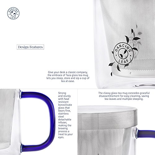 Transparent Tea Mug with Heat Resistant Stainless Steel Infuser & Lid Perfect Tea Cup for Office and Home Uses Suitable for Teabags Loose Leaf & Fine Leaf Tea (300ml), 2 image