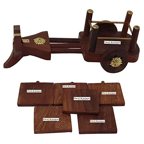 Wooden Tea Coffee Coaster Set CART Shape ? Office Home Decor Dining Accessory (Brown 7.5 x 4 x 3 inch), 4 image