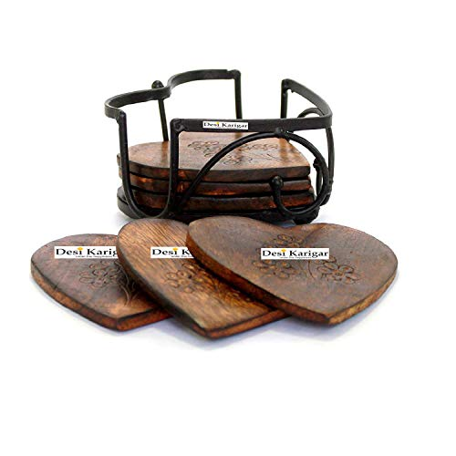 Handmade Wood and Iron Drink Coasters Sets with Holder Set of 6 in a Heart Shaped Holder with Heart Design, 4 image