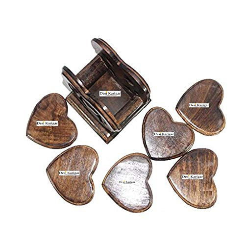 Wooden Heart Shape Wooden Tea Coster Suitable for Wine Glasses Beer Bottles Whiskey Glasses and Any Hot and Cold Drinks, 4 image