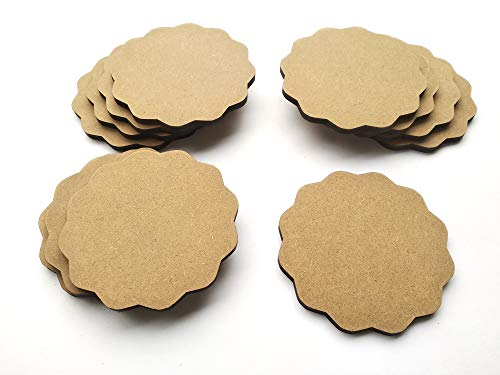 DIY MDF Circle and Scallop Shaped Coasters - (Set of 12)- for Craft/Activity/Decoupage/ting/Resin Work (Scallop Shaped), 4 image