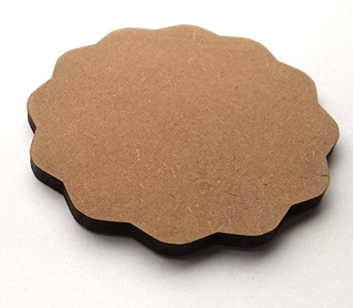 DIY MDF Circle and Scallop Shaped Coasters - (Set of 12)- for Craft/Activity/Decoupage/ting/Resin Work (Scallop Shaped), 3 image