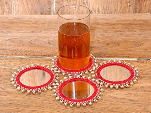 Handmade Coaster red Color Both Sided Mirror for Drinks  Set of 4 pcs  10 x 10 cm  Bohemian Boho Style  Idea for Christmas Gift, 2 image