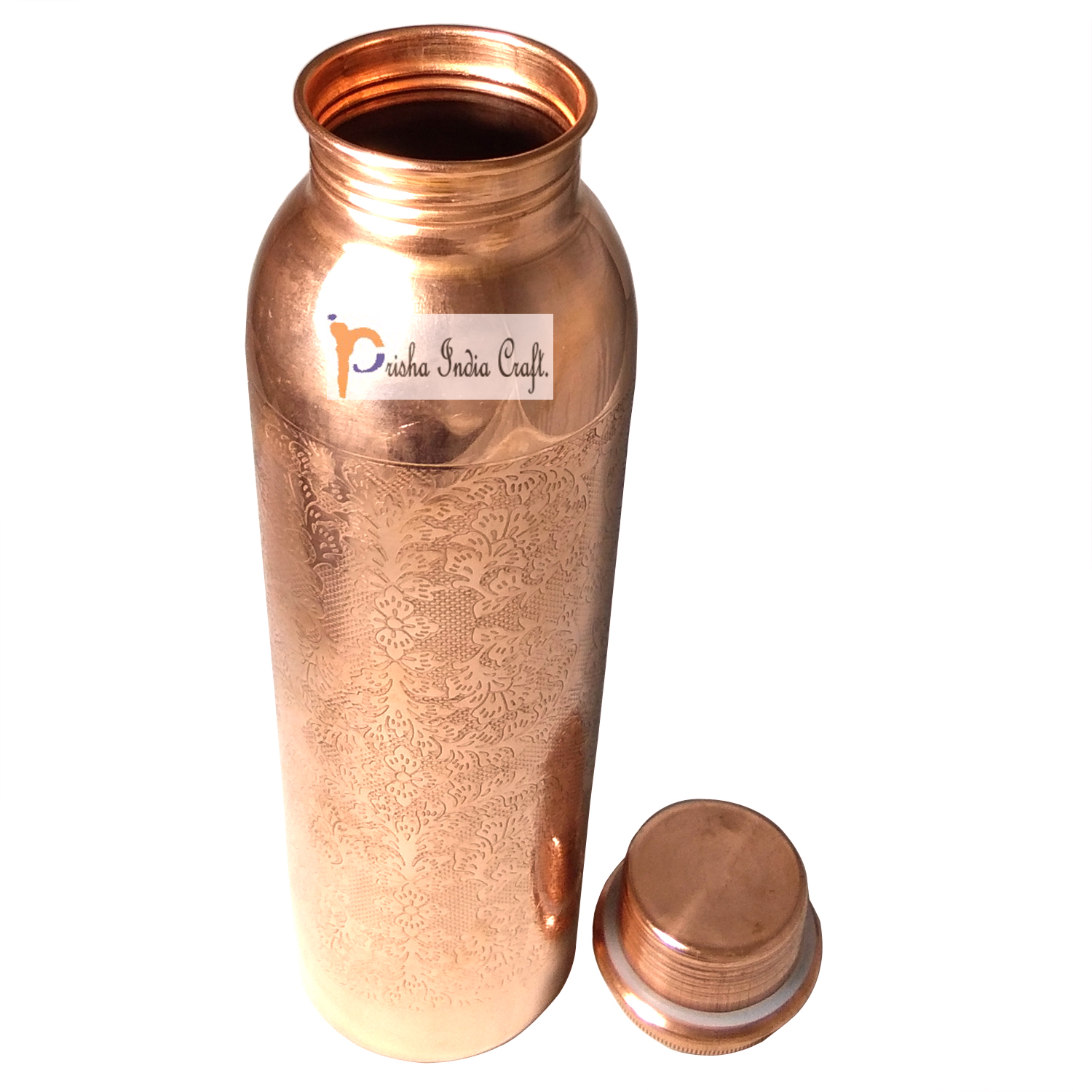 Copper Bottle with New Designed, Travel Essential, Drinkware, Pure Copper Water Bottle 900 ML | Set of 2, 2 image