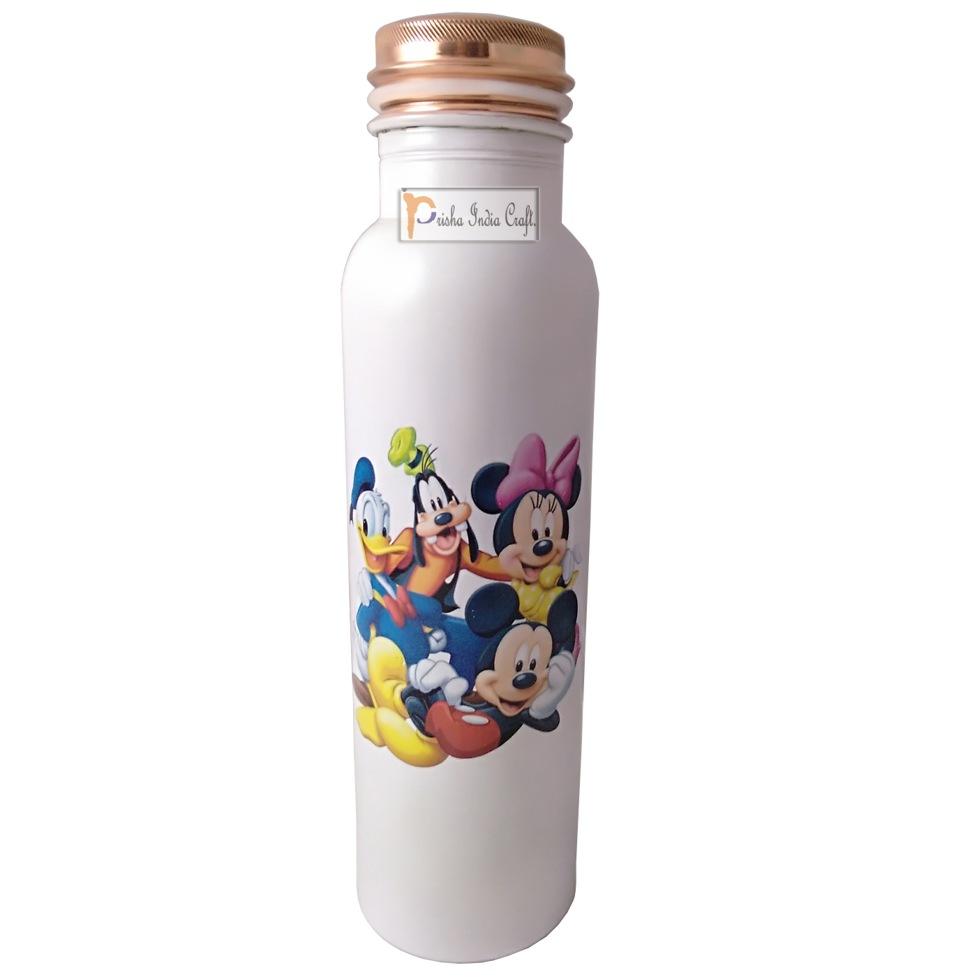 Digital Printed Pure Copper Water Bottle Kids School Water Bottle – Mickey Mouse and Donald Design, 1000 ML, 3 image