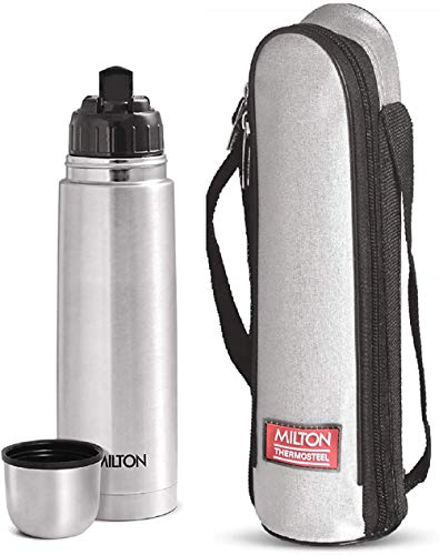 Thermosteel Flip Lid Flask 500 millilitres Silver & Alive 750 Stainless Steel Water Bottle 750 ml Black Combo, 2 image