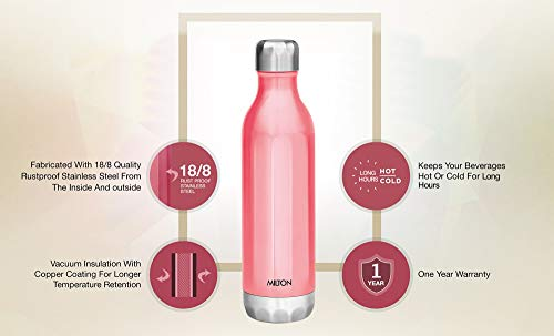 Bliss 600 Thermosteel Water Bottle 540 ml (Pink), 2 image