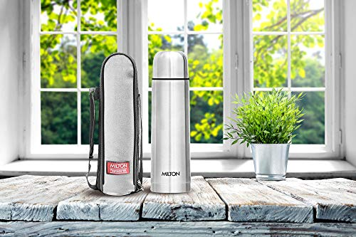 Thermosteel Flip Lid Flask 500 millilitres Silver & Alive 750 Stainless Steel Water Bottle 750 ml Black Combo, 3 image