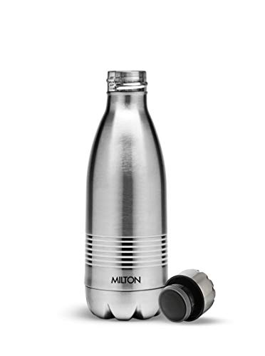 Thermosteel Duo Deluxe-1000 Bottle Style Vacuum Flask 1 Litre Silver + Duo DLX 350 Bottle 350 ml Silver, 6 image