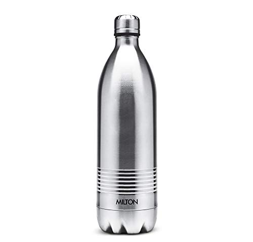 Thermosteel Duo Deluxe-1000 Bottle Style Vacuum Flask 1 Litre Silver + Thermosteel Optima 420 Stainless Steel Flask 420ml Steel, 2 image
