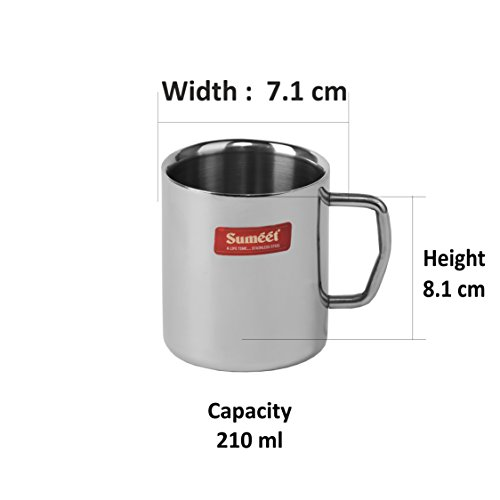 Stainless Steel Coffee Mug - 4 Pieces Silver 210 ml, 4 image