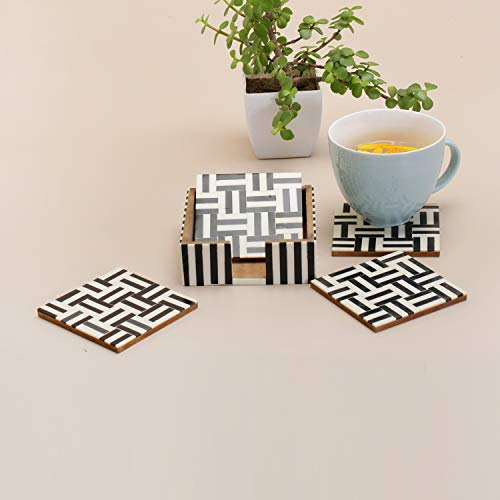 Table Coasters Set for Home with Stand Unbreakable with Pattern Design for Cups Mugs Glasses | Wood with Resin | Black & White | Set of 4 Coasters + 1 Stand, 2 image