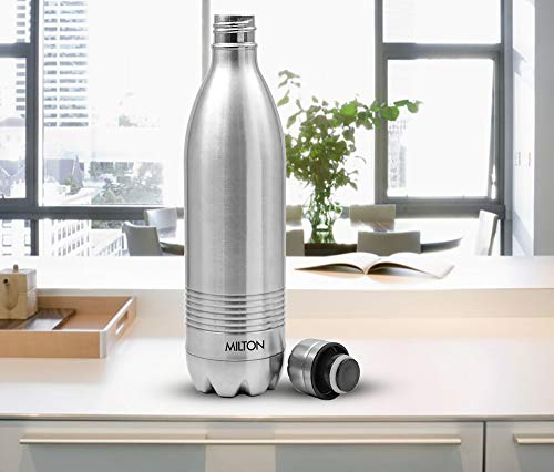 Thermosteel Duo Deluxe-1000 Bottle Style Vacuum Flask 1 Litre Silver + Duo DLX 350 Bottle 350 ml Silver, 3 image
