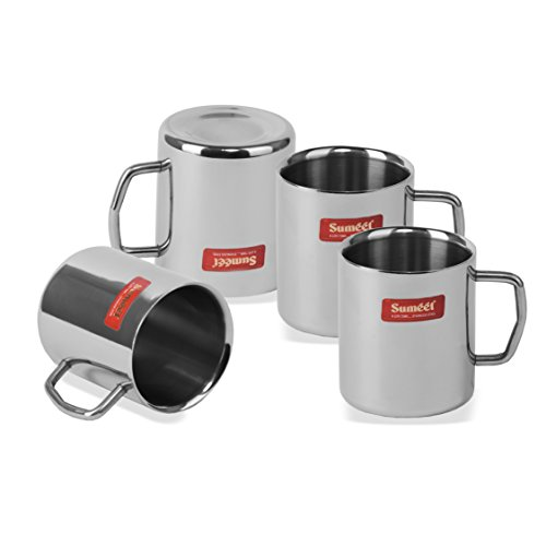 Stainless Steel Coffee Mug - 4 Pieces Silver 210 ml, 5 image