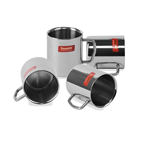 Stainless Steel Coffee Mug - 4 Pieces Silver 210 ml, 6 image