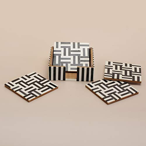 Table Coasters Set for Home with Stand Unbreakable with Pattern Design for Cups Mugs Glasses | Wood with Resin | Black & White | Set of 4 Coasters + 1 Stand, 3 image