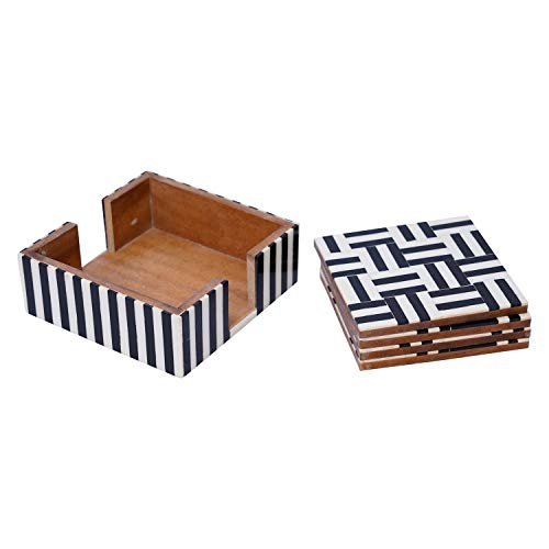 Table Coasters Set for Home with Stand Unbreakable with Pattern Design for Cups Mugs Glasses | Wood with Resin | Black & White | Set of 4 Coasters + 1 Stand, 5 image