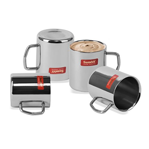 Stainless Steel Coffee Mug - 4 Pieces Silver 210 ml, 3 image