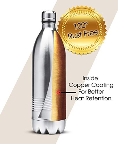 Thermosteel Duo Deluxe-1000 Bottle Style Vacuum Flask 1 Litre Silver + Thermosteel Optima 420 Stainless Steel Flask 420ml Steel, 4 image