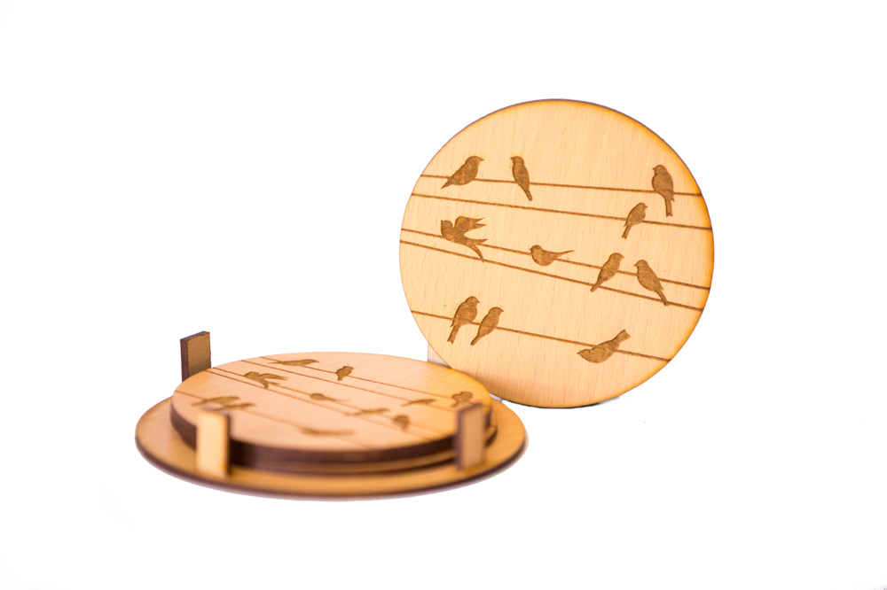 Round Coasters With Birds Design Engraved ( Set Of 4), 2 image
