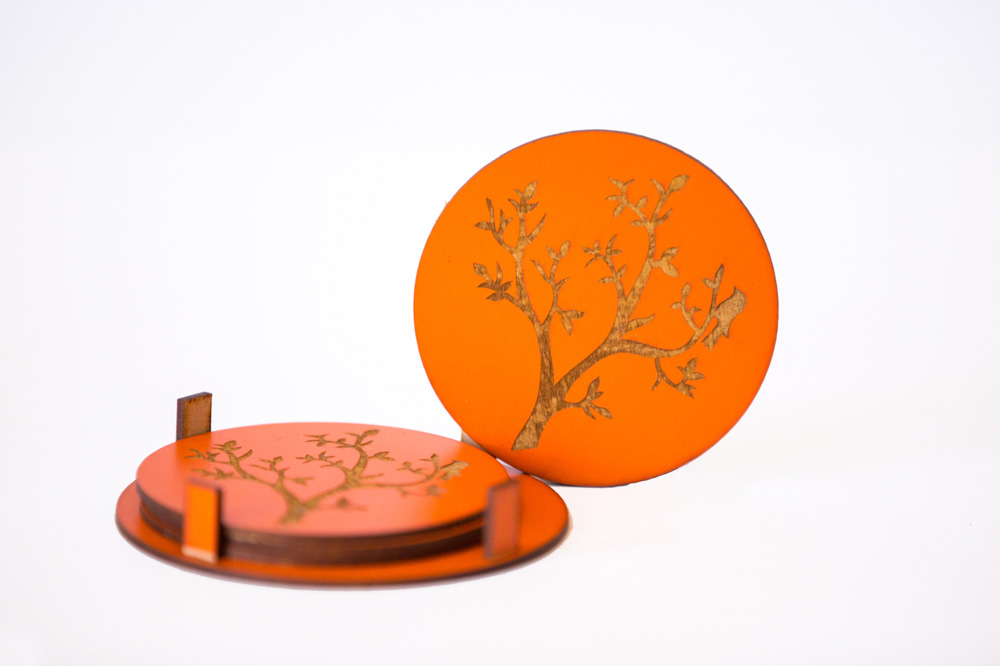 Round Coasters With Tree Engraved, 2 image