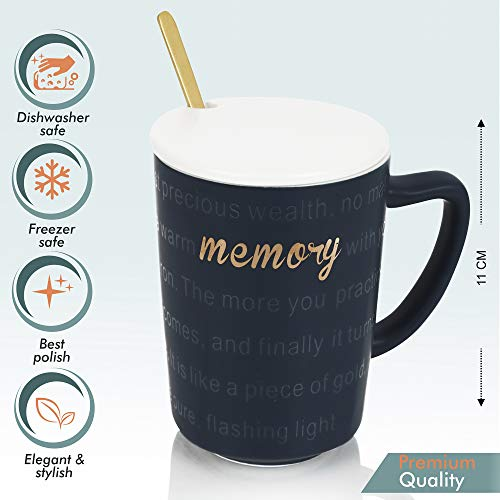 Premium Quality Porcelain Mug with Spoon for Coffee , Tea , Milk , Beverages 450 ML - Blue Color - Pack of 1, 4 image