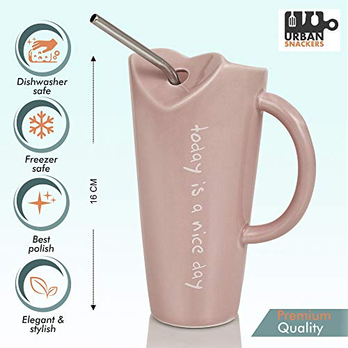 Premium Quality Porcelain Mug with Metal Straw for Coffee , Tea , Milk , Beverages 500 ML - Pink Color - Pack of 1, 6 image