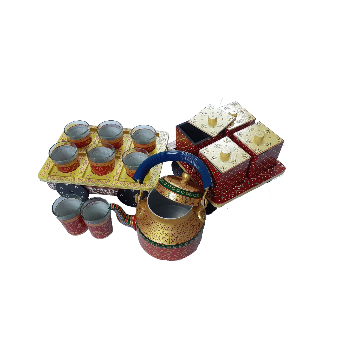 Multicolor Hand painted Aluminium Tea Kettle Set With 8 Glasses and Wooden dry fruits box., 4 image