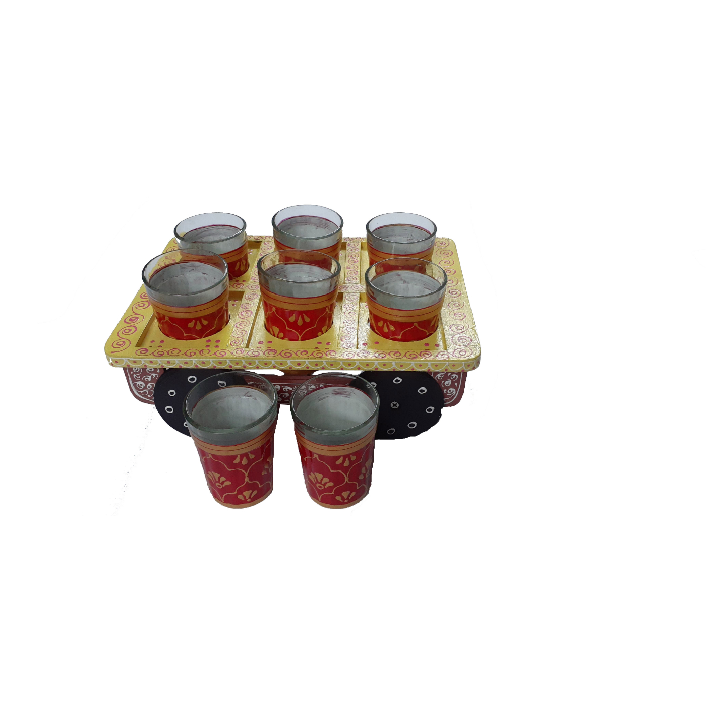 Multicolor Hand painted Aluminium Tea Kettle Set With 8 Glasses and Wooden dry fruits box., 5 image